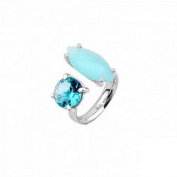 RING SILVER BLUE STONE RODIUM