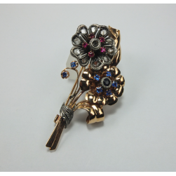 BROOCH GOLD SILVER BRIGHT RUBIES AND SAPPHIRES