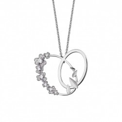 HEART NECKLACE RODIUM C/ ZIRCONIAS