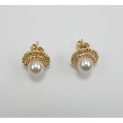 EARRINGS YELLOW GOLD WITH BRILLIANT AND PEARL