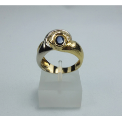 RING YELLOW GOLD WITH BRILLIANT AND SAPPHIRE