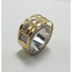 RING WHITE AND YELLOW GOLD WITH BRILLIANT SPIGA