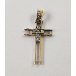 LA CRUZ DE ORO AMARILLO CON DIAMANTES