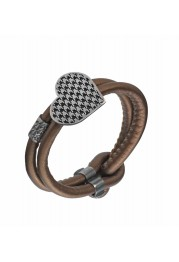 LEATHER BRACELET W/ HEART IN STERLING SILVER LOVE FASHION PASSION