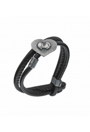 LEATHER BRACELET W/ HEART IN STERLING SILVER LOVE PASSIONATE PASSION