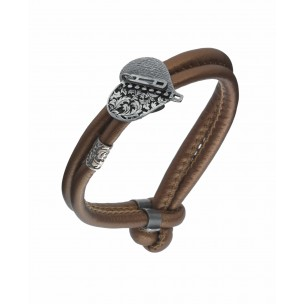 LEATHER BRACELET W/ HEART IN STERLING SILVER EVERLASTING LOVE PASSION