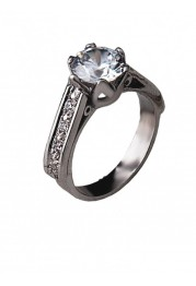 RING SILVER SOLITAIRE WITH ZIRCÓNIAS SIDE PASSION