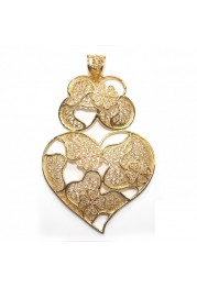 MEDAL SILVER HEART FILIGREE CLOVER WITH ZIRCÓNIAS F. A.