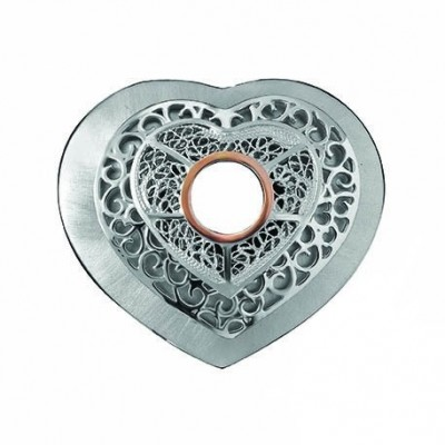 HEART SILVER AND GOLD FILIGREE