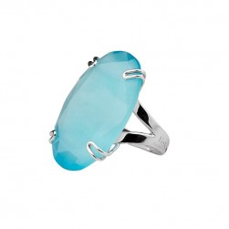 RING BLUE STONE RODIUM