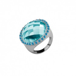 RING BLUE STONE ZIRCONIA BLUE RODIUM